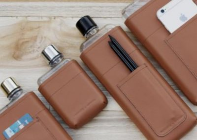 leather water bottle